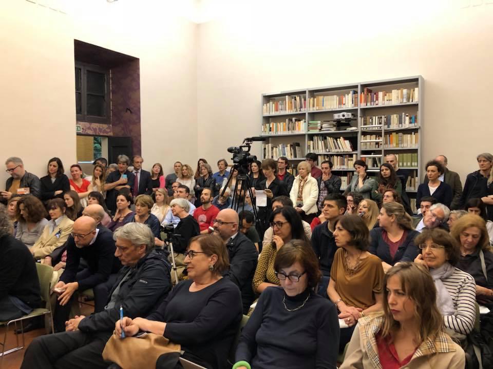 """Presentazione del libro """"Zona industriale"""" di Eduard Limonov presso la Casa delle Letterature a Roma. Il pubblico."""