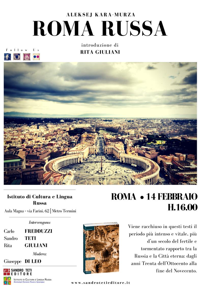 Roma e i Russi, il 14 febbraio all'Istituto di Cultura e Lingua Russa